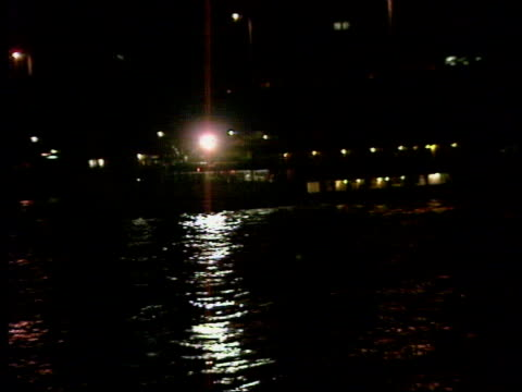 pleasure craft 'marchioness' accident / aftermath a london southwark river thames with moored boat and buildings lbv rescuers away in rubber dinghy... - sunrise dawn stock videos & royalty-free footage