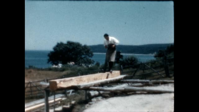 plimoth plantation is a living history museum as seen in this archival home movie reel - pellegrino video stock e b–roll