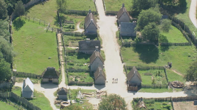 aerial plimoth plantation / plymouth, massachusetts, united states - pellegrino video stock e b–roll