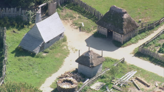 AERIAL Plimoth Plantation with historical cottages and artifacts / Plymouth, Massachusetts, United States