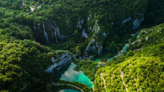 AERIAL: Plitvice Lakes National Park