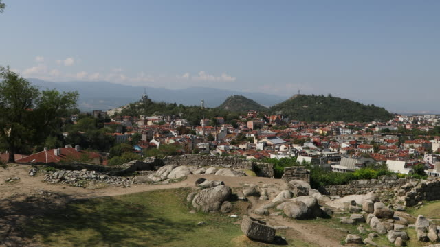Plovdiv, view of the city from the ancient fortress.