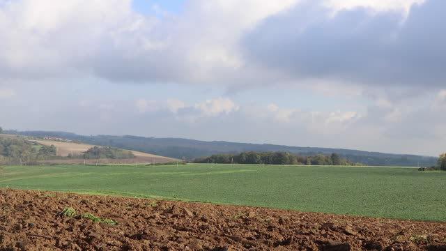 plowed field and countryside landscape