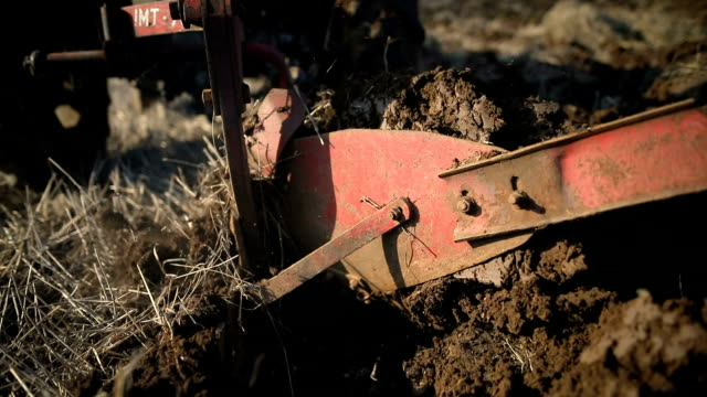 plowing close up.senior man driving small tractor and plowing field.agricultural activity - plowed field stock videos & royalty-free footage