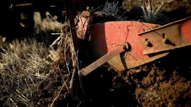 vídeos y material grabado en eventos de stock de arar de cerca. hombre mayor conduciendo tractor pequeño y la actividad de arado field. agricultural - grano planta