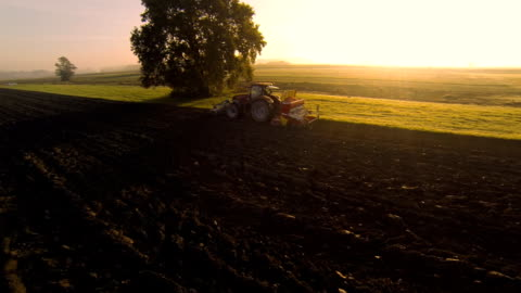 hd: plowing the field at sunset - tractor stock videos & royalty-free footage