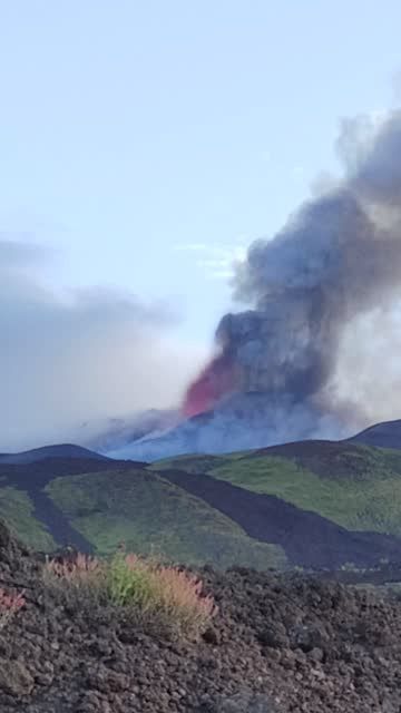 plume of ash rose from italy's mount etna during an eruption in the early hours of may 30. it followed several days of activity at the... - lava stock videos & royalty-free footage