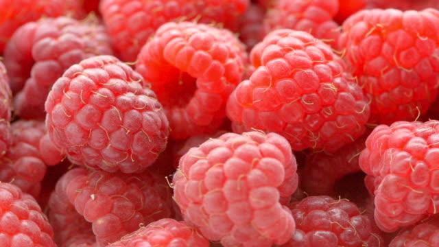 vídeos de stock, filmes e b-roll de e uvas maduras framboesas vermelhas, close-up - framboesa