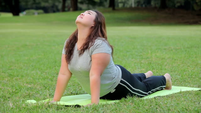 plus size asian woman practicing yoga on green grass in the park - figurine stock videos and b-roll footage