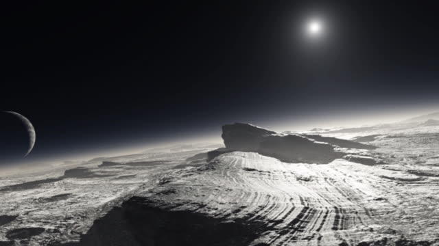 vídeos de stock e filmes b-roll de pluto. animation of the surface of the dwarf planet pluto, with patches of methane on the surface, and its moon charon and the distant sun seen in its sky. - lua