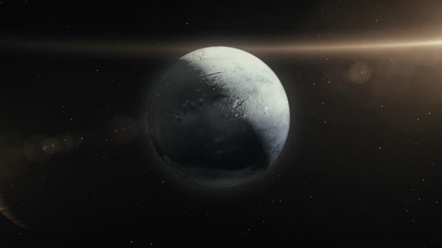 空間3dイラストのプルート惑星 - 軌道を回る点の映像素材/bロール