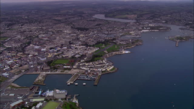aerial, plymouth, england - british military stock-videos und b-roll-filmmaterial