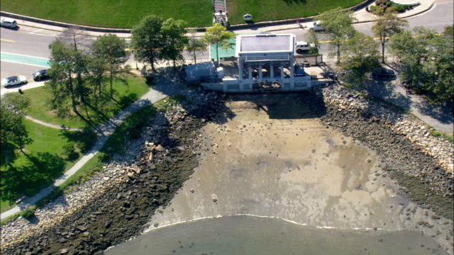 plymouth rock  - aerial view - massachusetts,  plymouth county,  united states - new england usa stock videos & royalty-free footage