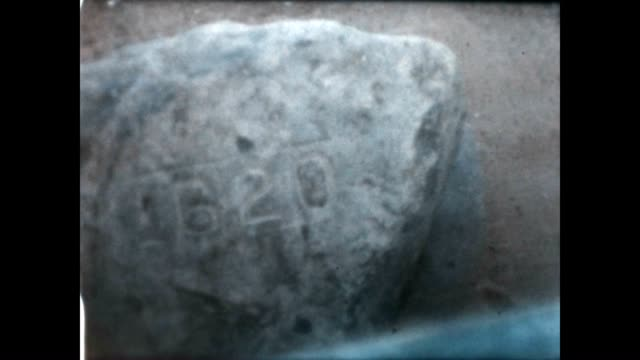 plymouth rock as seen in this archival home movie reel - massachusetts stock-videos und b-roll-filmmaterial