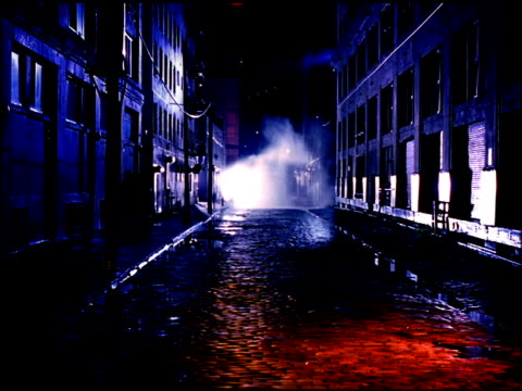 plymouth street w/ no parked cars no people surrounding buildings red light cast on cobblestone street fg mist from spraying fire hydrant bg nyc bk... - cobblestone stock videos & royalty-free footage