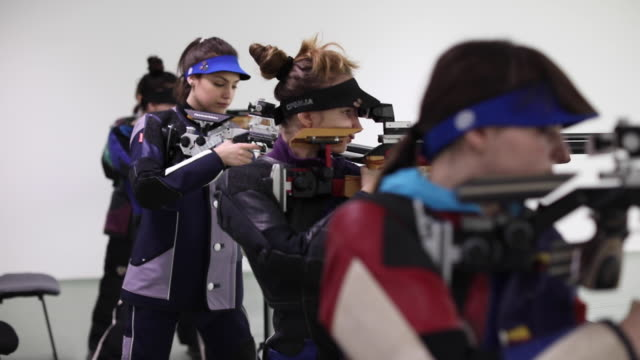 pneumatic air rifle competition - rifle stock videos & royalty-free footage