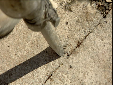 pneumatic drill penetrating and digging up chunks of concrete from road surface, athens - erezione video stock e b–roll