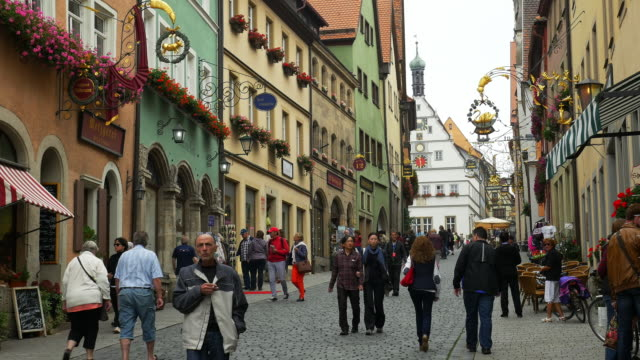 pobere schmiedgasse and ratstrinkstube in rothenburg - romantic road germany stock videos and b-roll footage