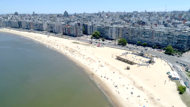 pocitos beach, aerial view, drone point of view, slow motion, montevideo, uruguay - montevideo stock videos & royalty-free footage