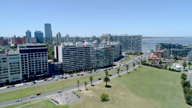 pocitos neighbourhood, aerial view, drone point of view, montevideo, uruguay - montevideo stock-videos und b-roll-filmmaterial