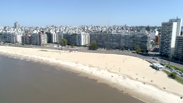 pocitos neighbourhood, high angle view, outdoors, daylight, montevideo, uruguay - montevideo stock-videos und b-roll-filmmaterial