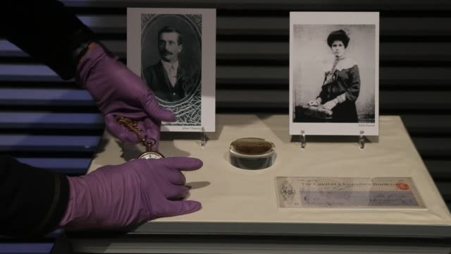 pocket watch belonging to cornishman john chapman, who drowned along with his wife sarah, and is being displayed as part of the new titanic stories... - タイタニック号点の映像素材/bロール