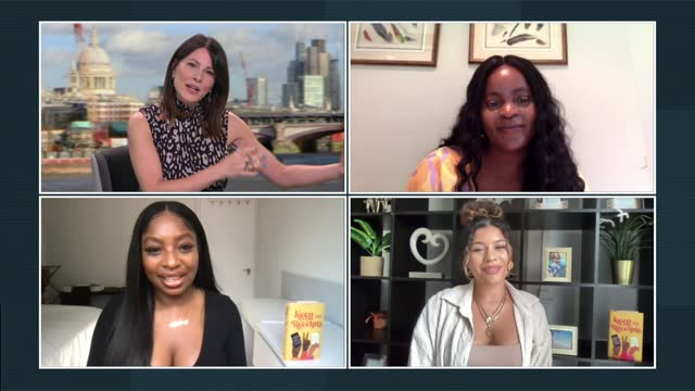 interview with the receipts' podcaster hosts; england: london: gir: int tolani shoneye, audrey indome, milena sanhez live 4-way interview split... - news not politics stock videos & royalty-free footage