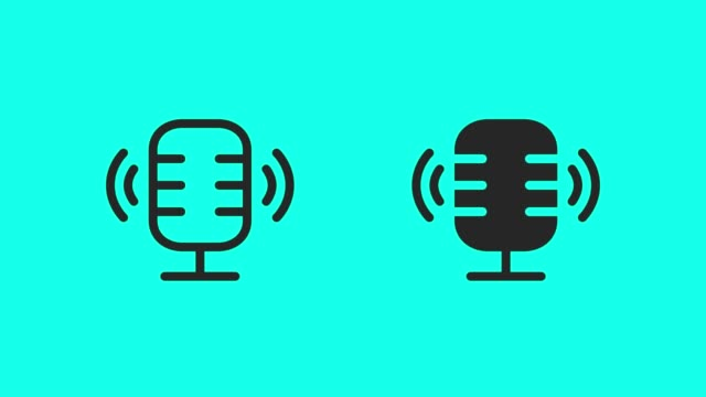 podcast online icons - vector animate - microphone stock videos & royalty-free footage