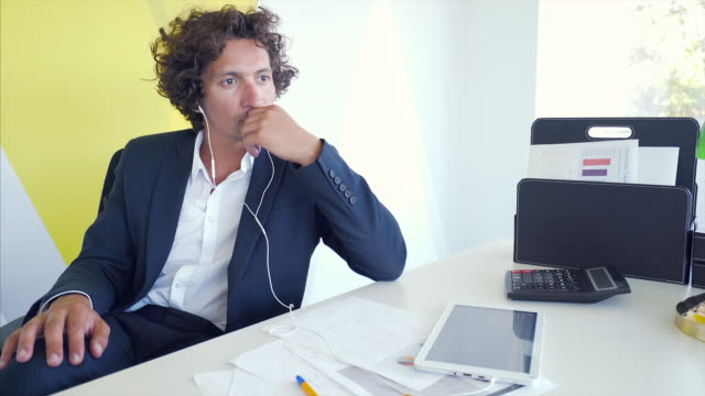 podcasting in the office. - curly stock videos & royalty-free footage