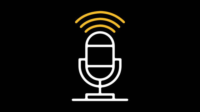 podcasts online line line icon animation with alpha - microphone stock videos & royalty-free footage