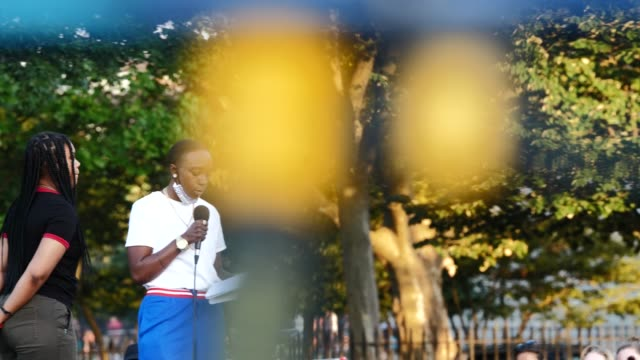 poet kaniki bonds reads during the womxn poets for black lives event on the 54th night of the george floyd vigil at mccarren park. - poet stock videos & royalty-free footage