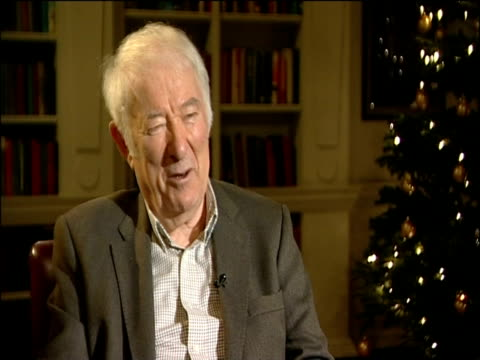poet seamus heaney comments on ted hughes being given a memorial in poets' corner in westminster abbey; 6 dec 2011 - poet stock videos & royalty-free footage