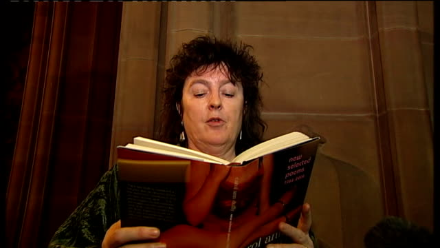 carol ann duffy named as next poet laureate various shots of carol ann duffy as she reads aloud from a book of her selected poems sot/ close shots of... - poetry stock videos & royalty-free footage