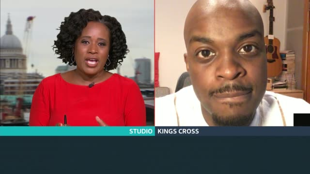 george mpanga interview; england: london: gir / kings cross: int george mpanga live 2-way interview via internet sot. - itv london tonight stock-videos und b-roll-filmmaterial