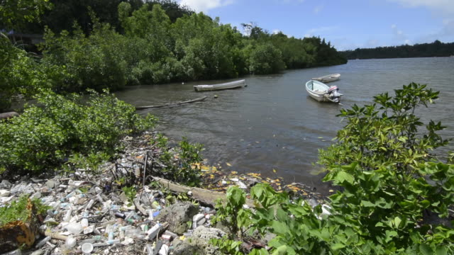 Pohnpei Micronesia bay with horrible litter being used as a dump as you circle the island