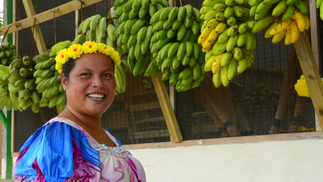 Pohnpei Micronesia beautiful local woman portrait with traditional dress and bananas