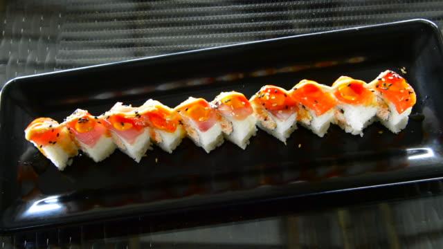pohnpei micronesia beautiful sushi colorful fish nigiri tuna food in restaurant - nigiri stock videos and b-roll footage