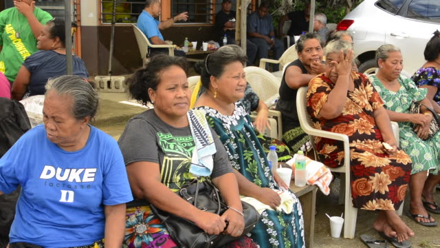 pohnpei micronesia local women waiting for food at local party - micronesia stock videos & royalty-free footage
