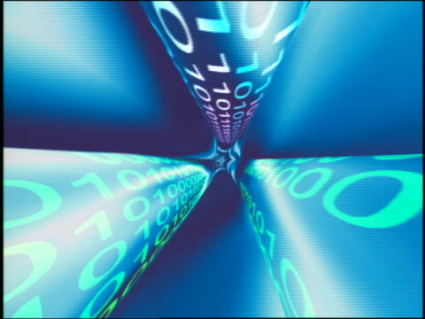 cgi point of view along + through fiber optic cable with binary numbers toward earth in space / stars in background - binary code stock videos & royalty-free footage