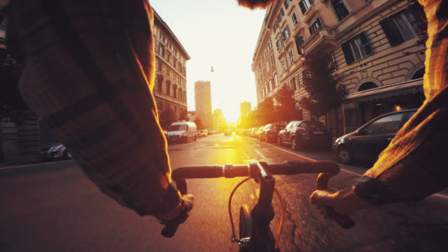 point of view pov bicycle in urban street contest - bicycle stock videos & royalty-free footage
