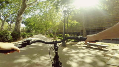 point of view pov bicycle ride in a park of madrid - point of view stock videos & royalty-free footage