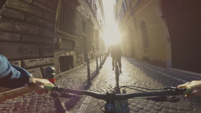 Point of view POV bicycle ride in streets of Rome