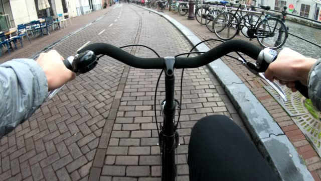 point of view bike cycling at amsterdam netherlands - passenger point of view stock videos & royalty-free footage