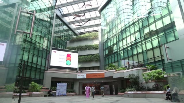 point of view descending elevator ride in the atrium of the national stock exchange of india ltd building in mumbai india on friday dec 16 point of... - elevator point of view stock videos and b-roll footage