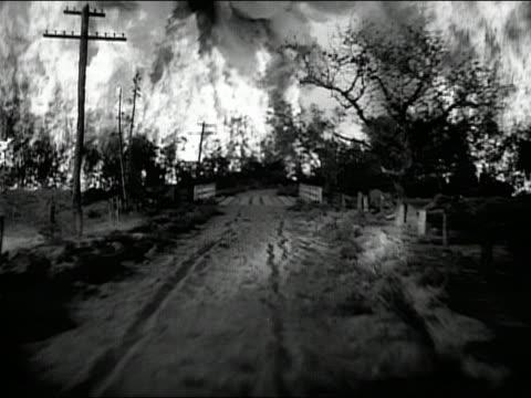 b/w 1937 point of view driving along country road through burning forest - förarperspektiv bildbanksvideor och videomaterial från bakom kulisserna