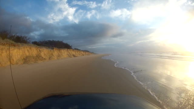 Point of view driving on Fraser Island, Australia