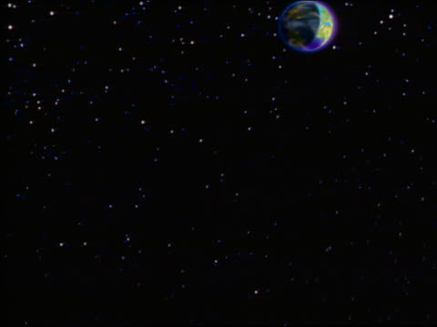 cgi point of view flying through starfield toward earth with aura + lighted lines connecting cities - digitale zeichentrickaufnahme stock-videos und b-roll-filmmaterial