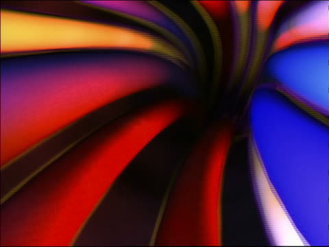 CGI point of view flying through tube with multicolored pipe walls toward black space