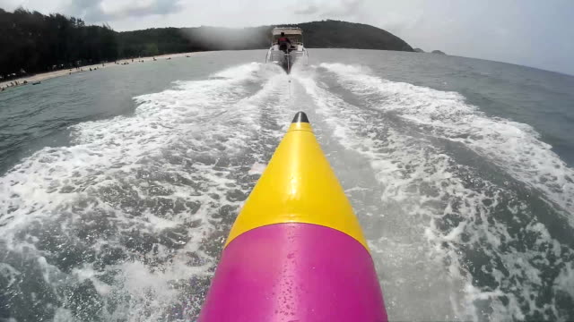 point of view from banana boat in the sea - inflatable stock videos & royalty-free footage
