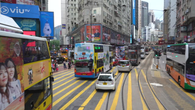 Point of view from tram travelling through Hong Kong